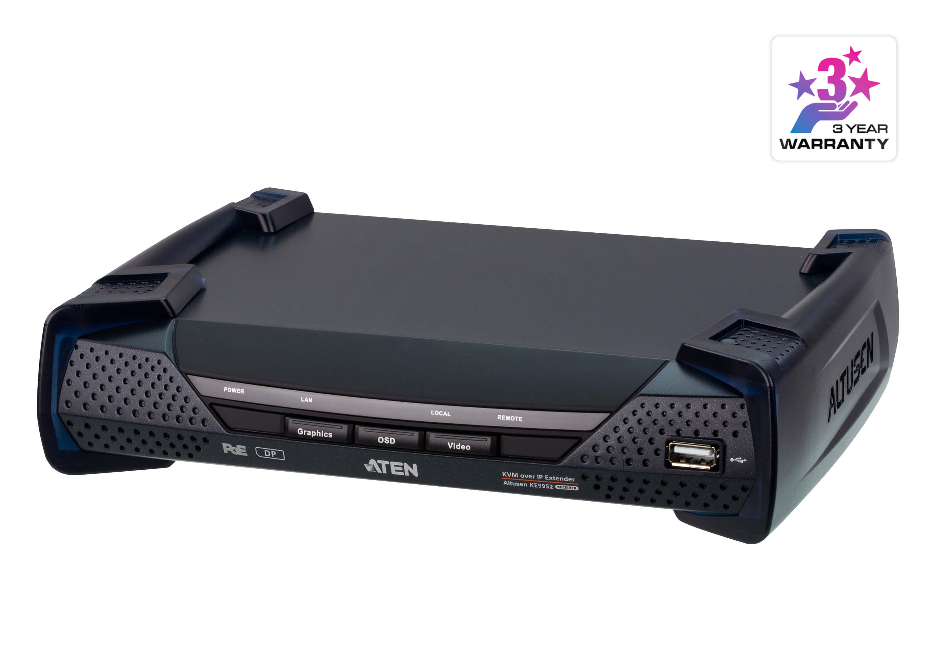 4K DisplayPort Single Display KVM over IP Receiver with PoE