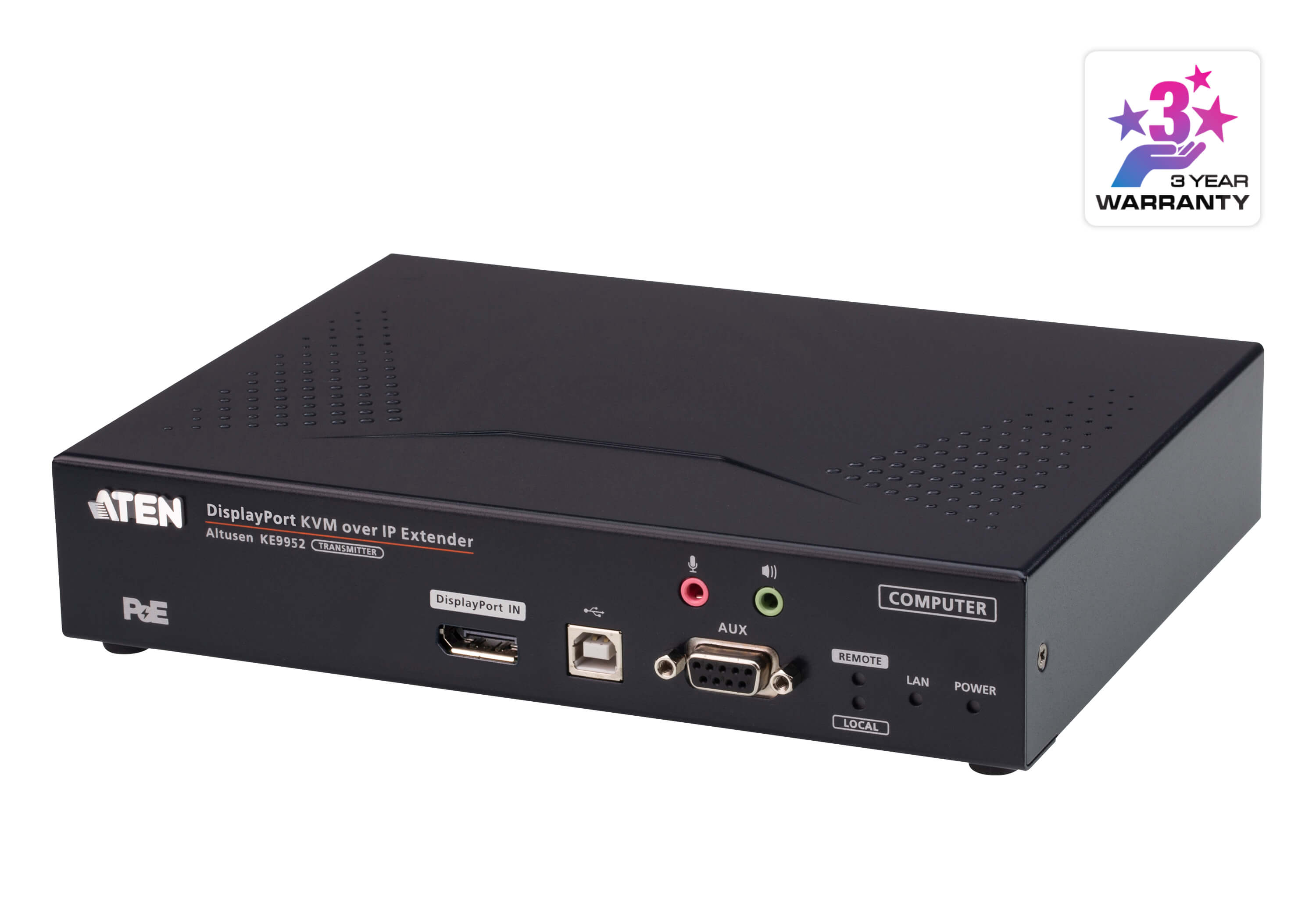 4K DisplayPort Single Display KVM over IP Transmitter with PoE