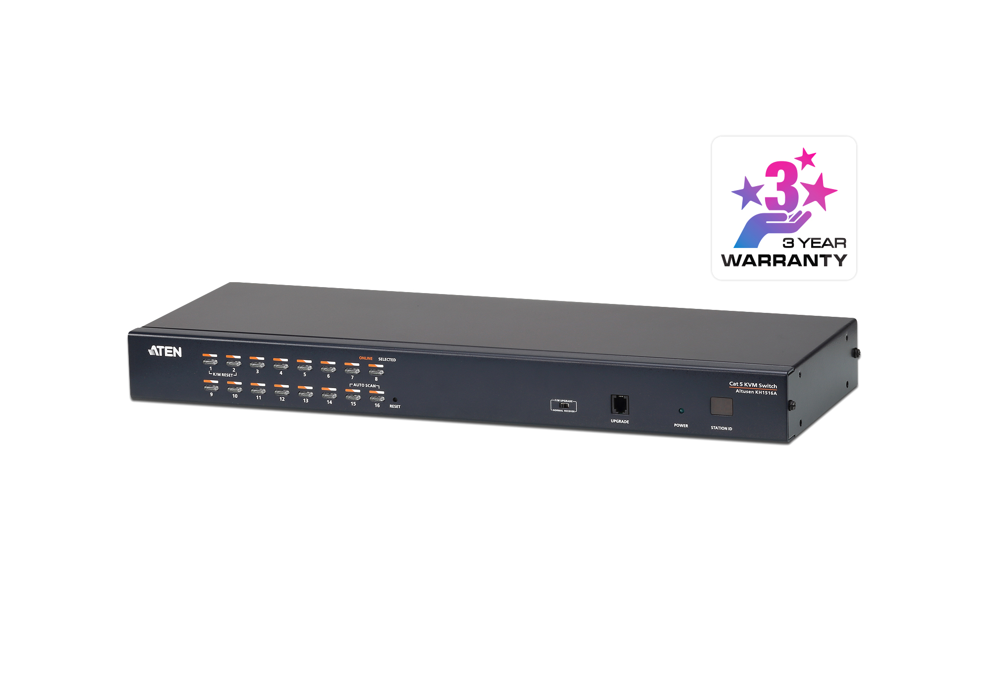 16-Port Multi-Interface (DisplayPort, HDMI, DVI, VGA) Cat 5 KVM Switch