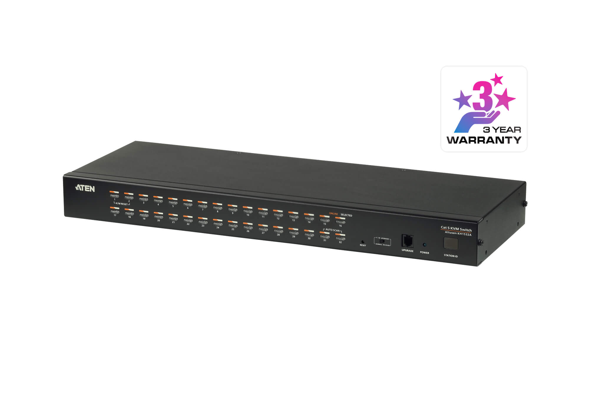 Switch KVM Cat 5 multi-interfaz de 32 puertos