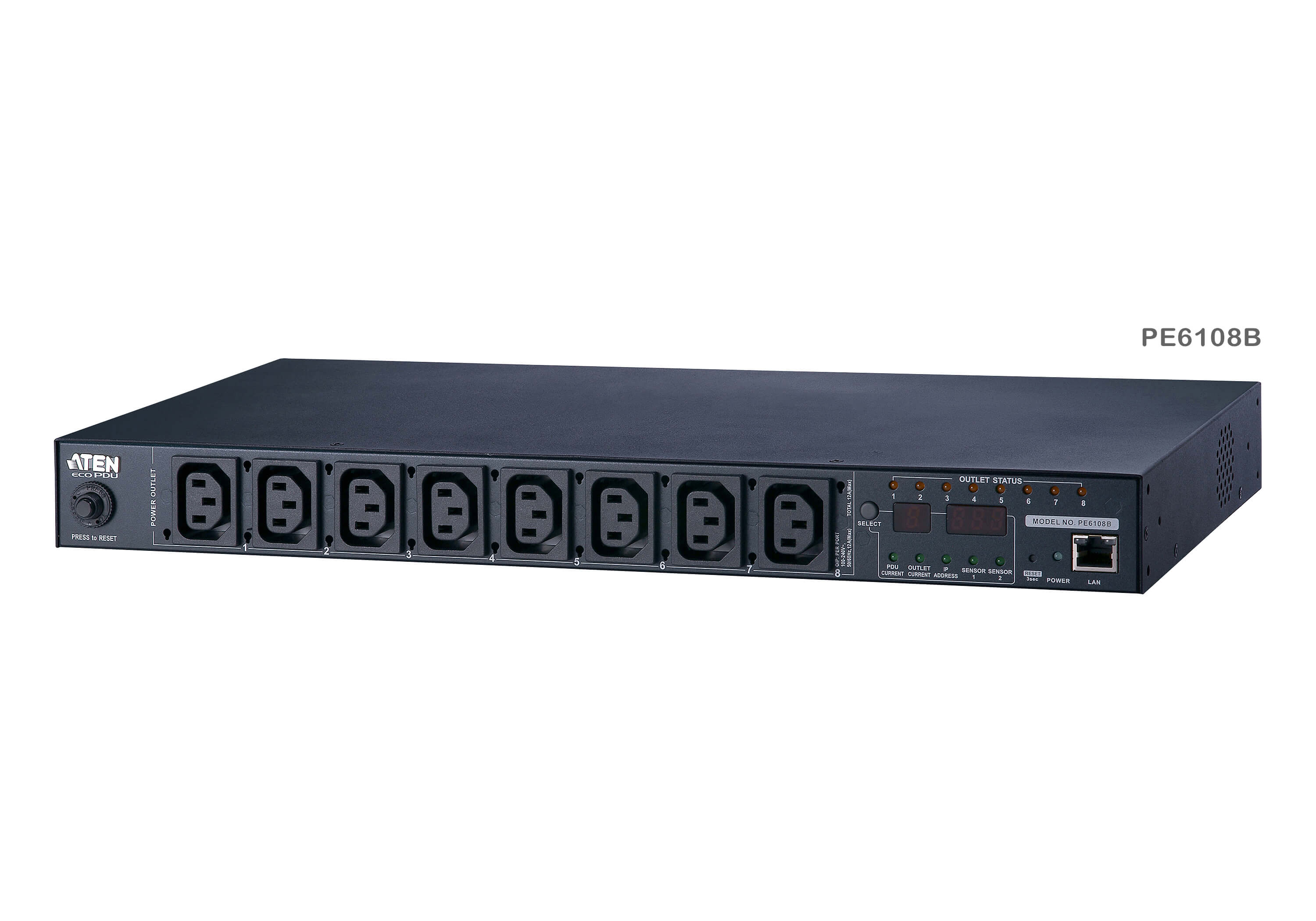 15A/10A 8-Outlet 1U Metered & Switched eco PDU-3