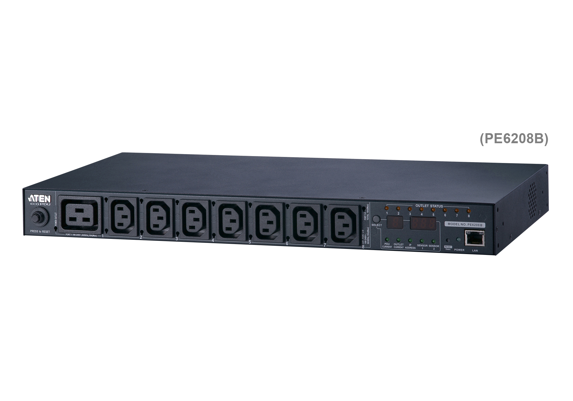 20A/16A 8-Outlet 1U Metered & Switched eco PDU-2
