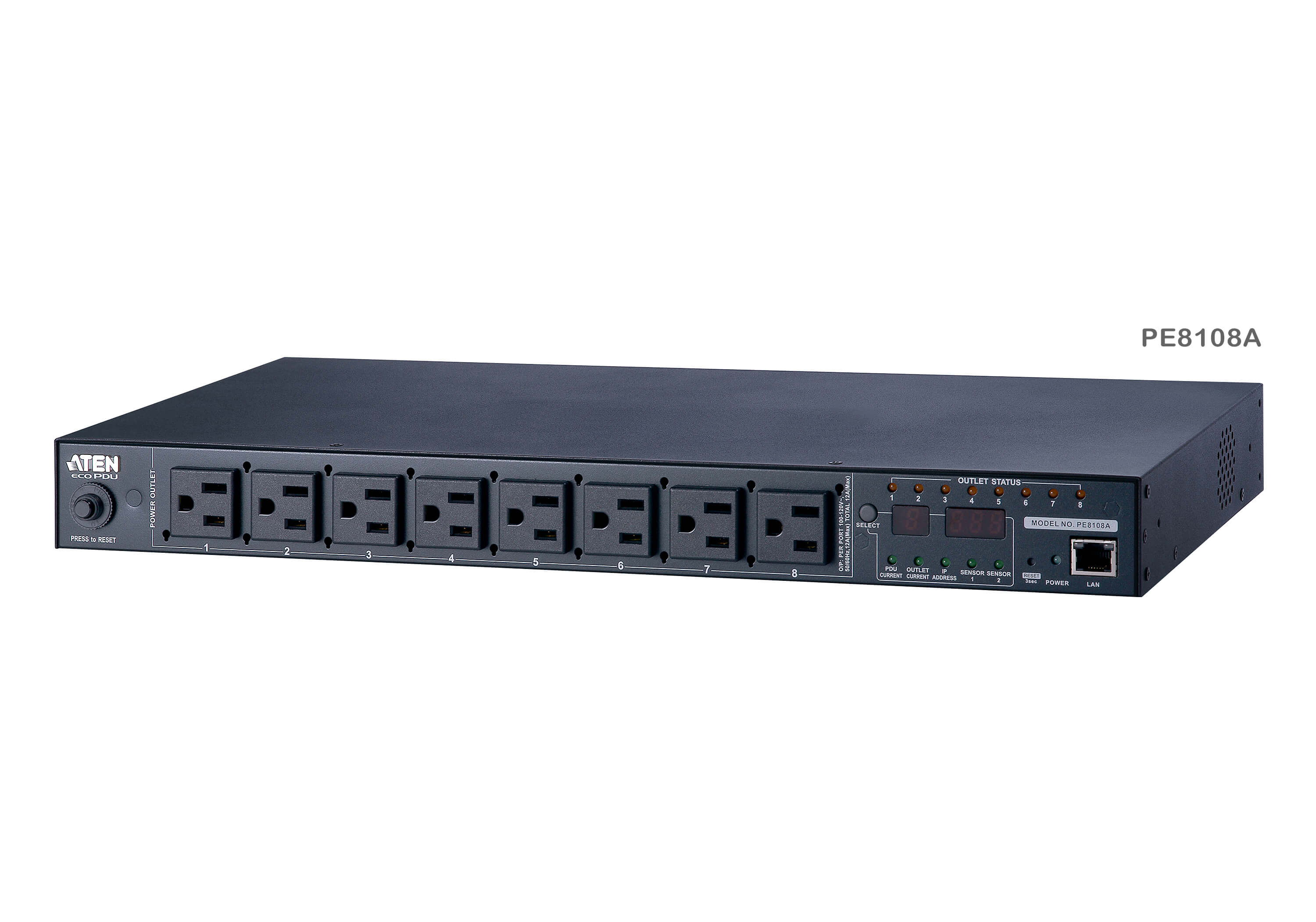 15A/10A 8-Outlet 1U Outlet-Metered & Switched eco PDU-1