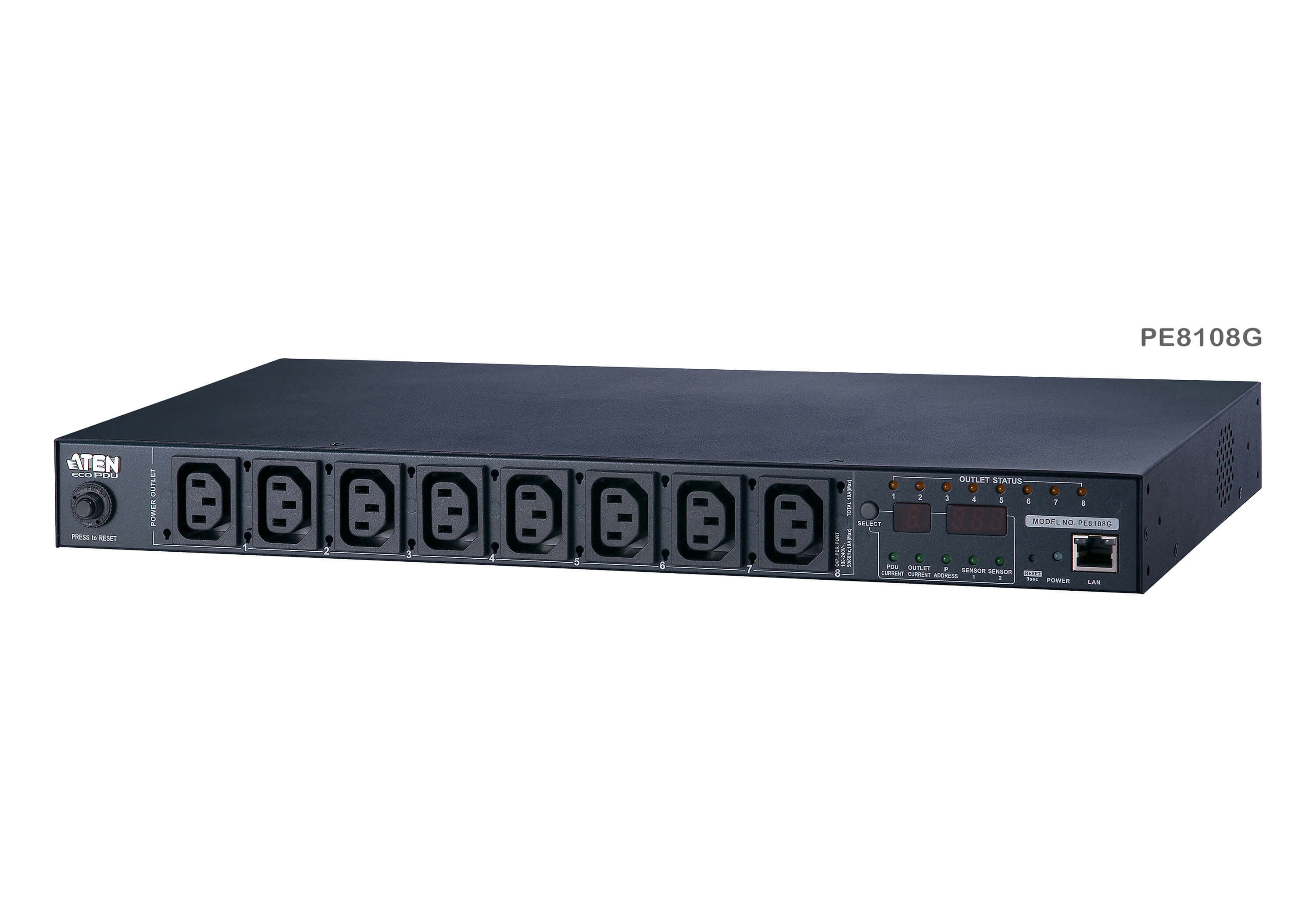 15A/10A 8-Outlet 1U Outlet-Metered & Switched eco PDU-6