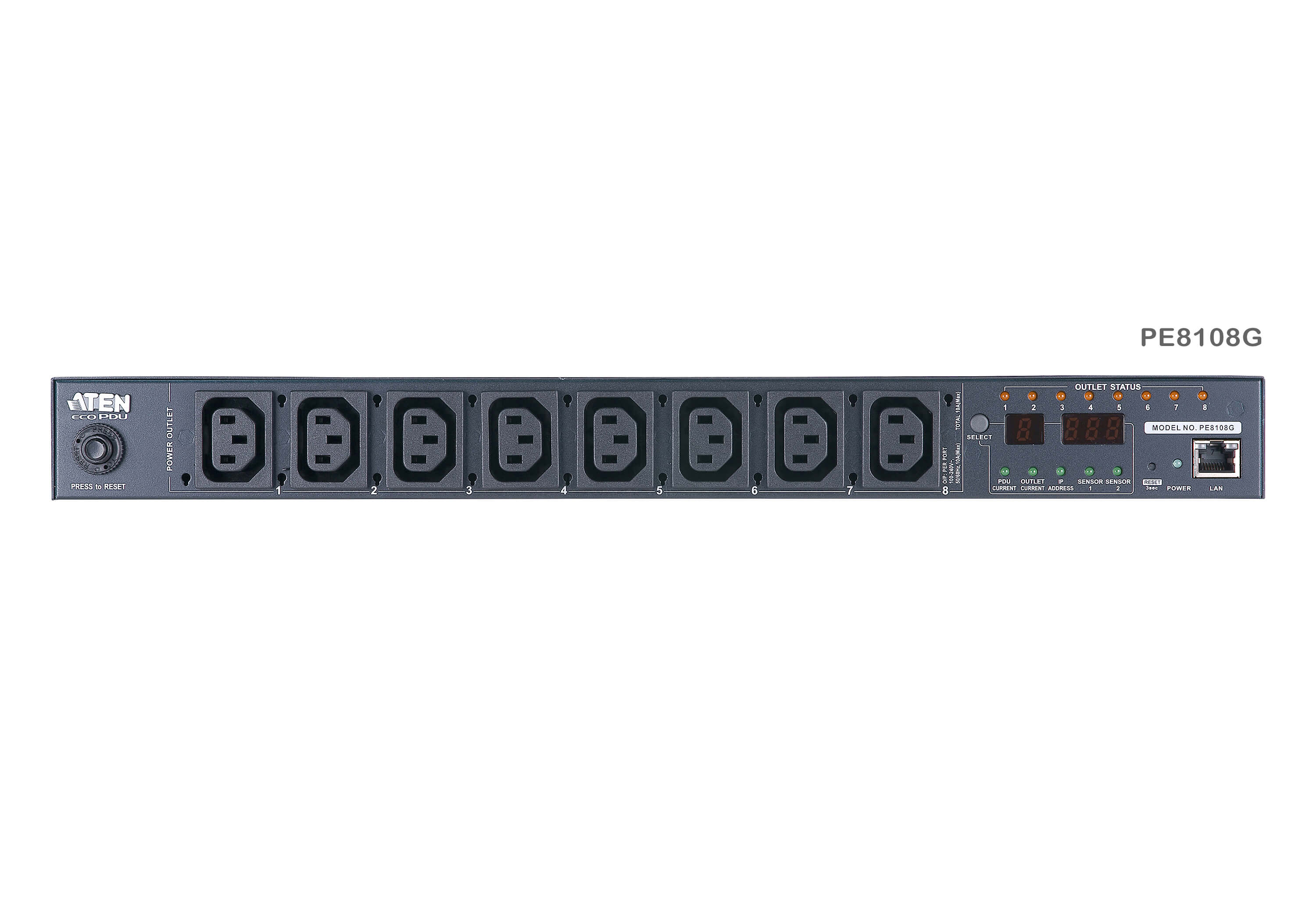 15A/10A 8-Outlet 1U Outlet-Metered & Switched eco PDU-8
