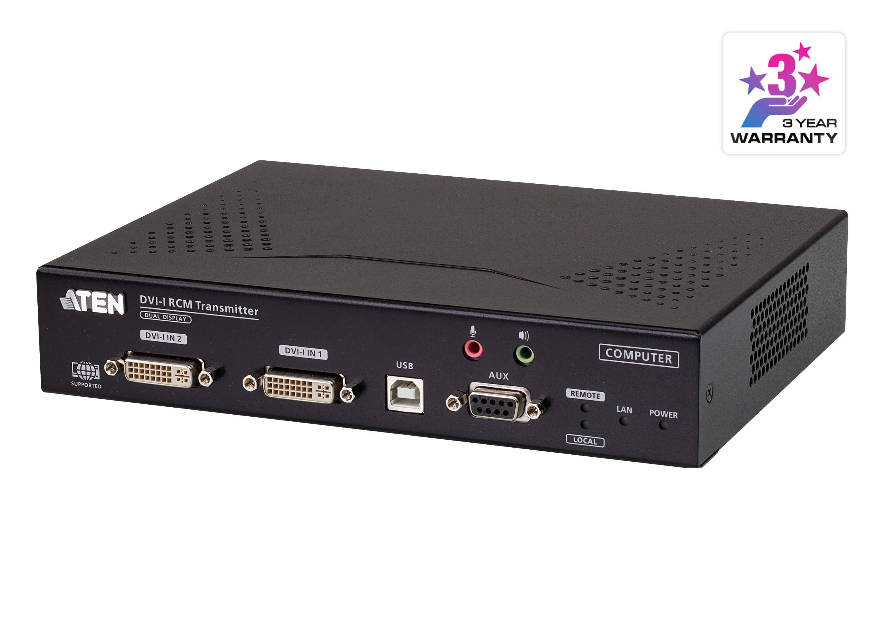 DVI-I Dual Display KVM over IP Transmitter with Remote Access-2