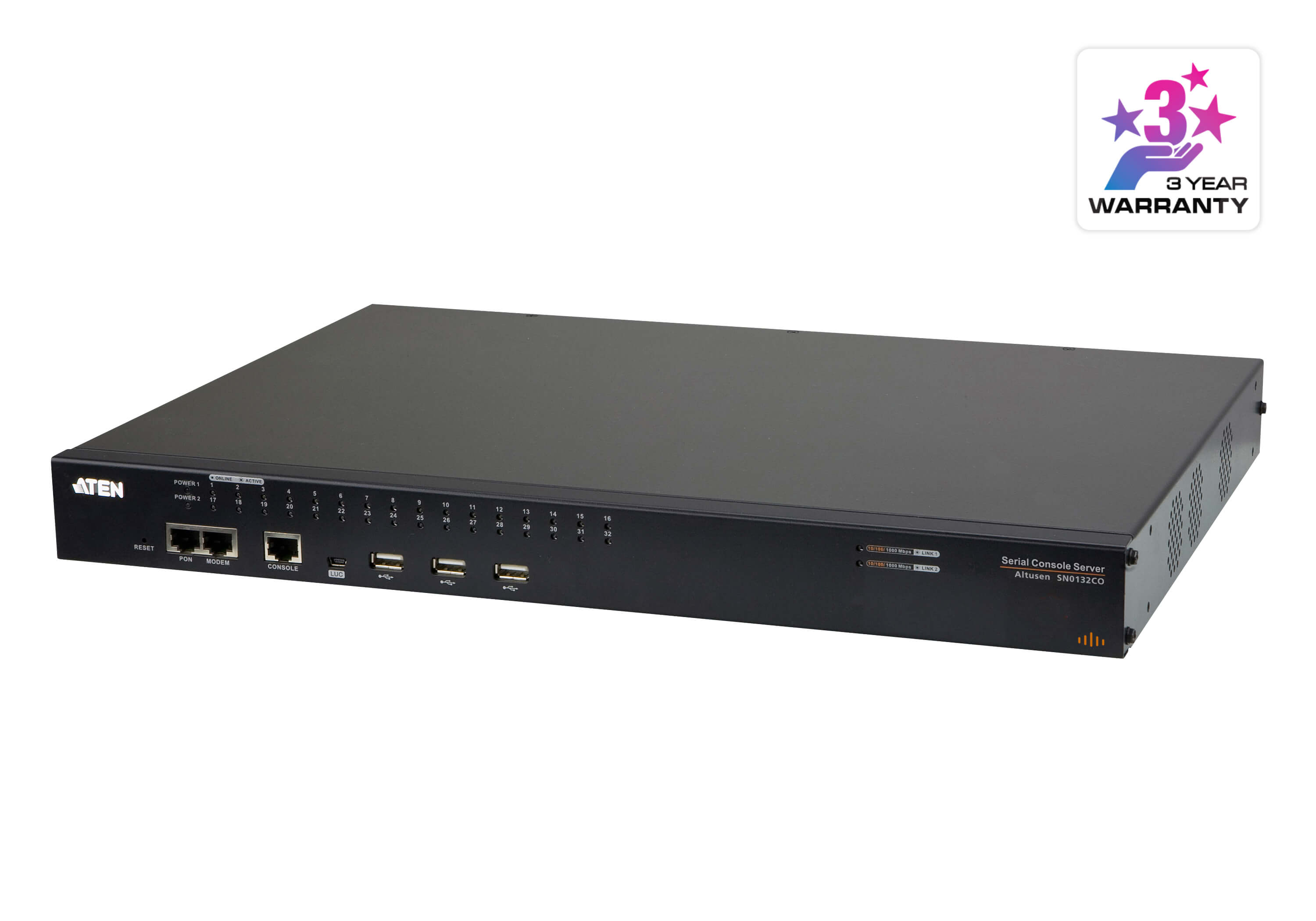32-Port Serial Console Server with Dual Power/LAN - SN0132CO