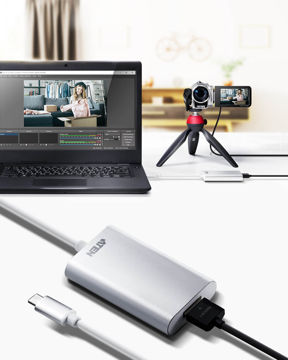 Capturadora de vídeo CAMLIVE™ HDMI a USB-C UVC-2
