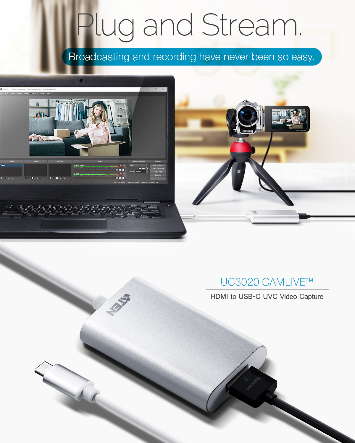 CAMLIVE™ (Captura Vídeo UVC HDMI para USB-C UVC)-2