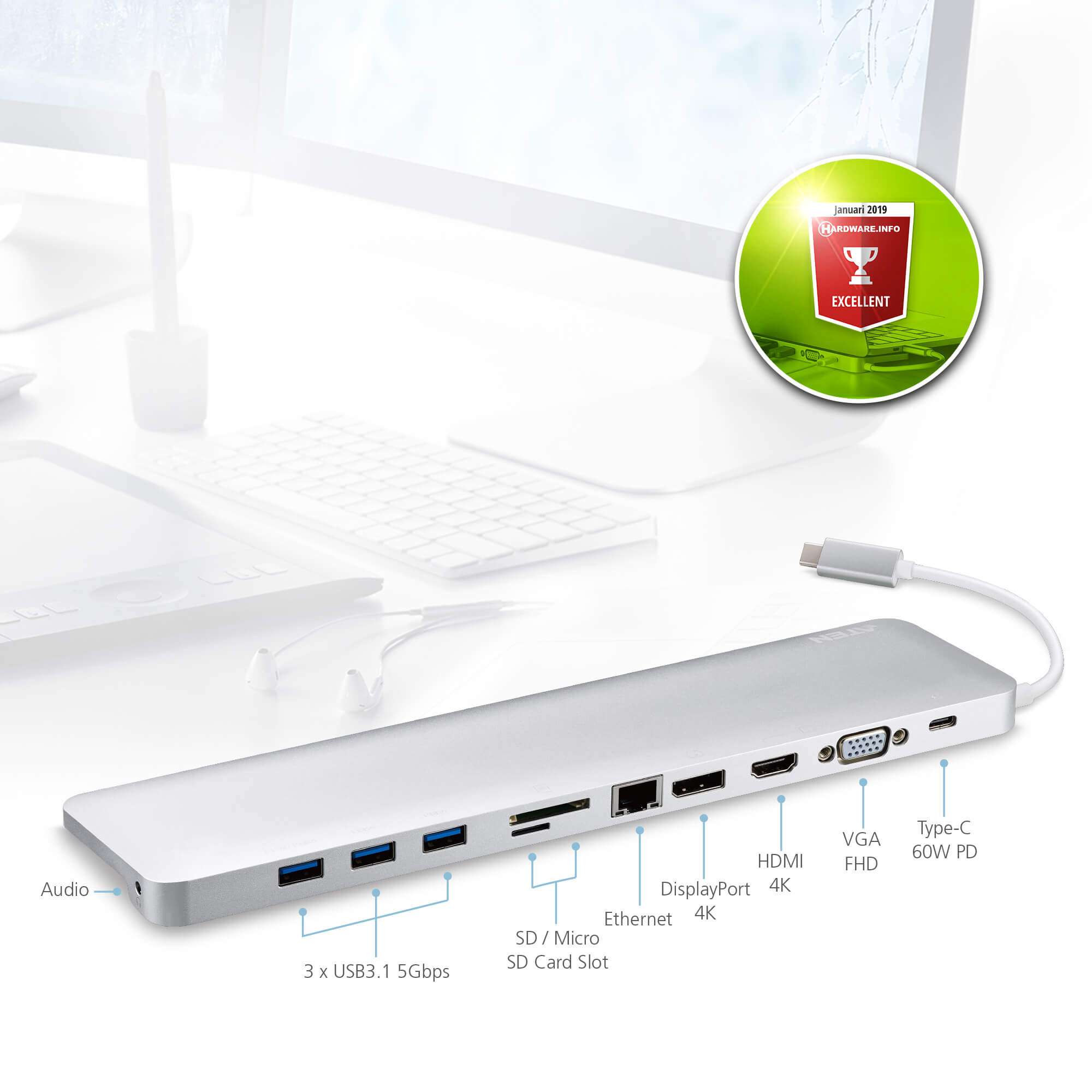 Docking station USB-C multipuerto con power pass-through-3