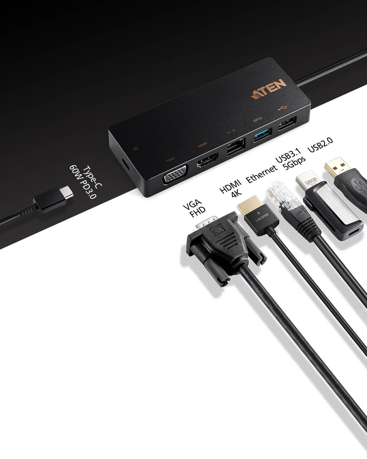 Mini USB-C-dockningsstation med flera portar och power pass-through-3