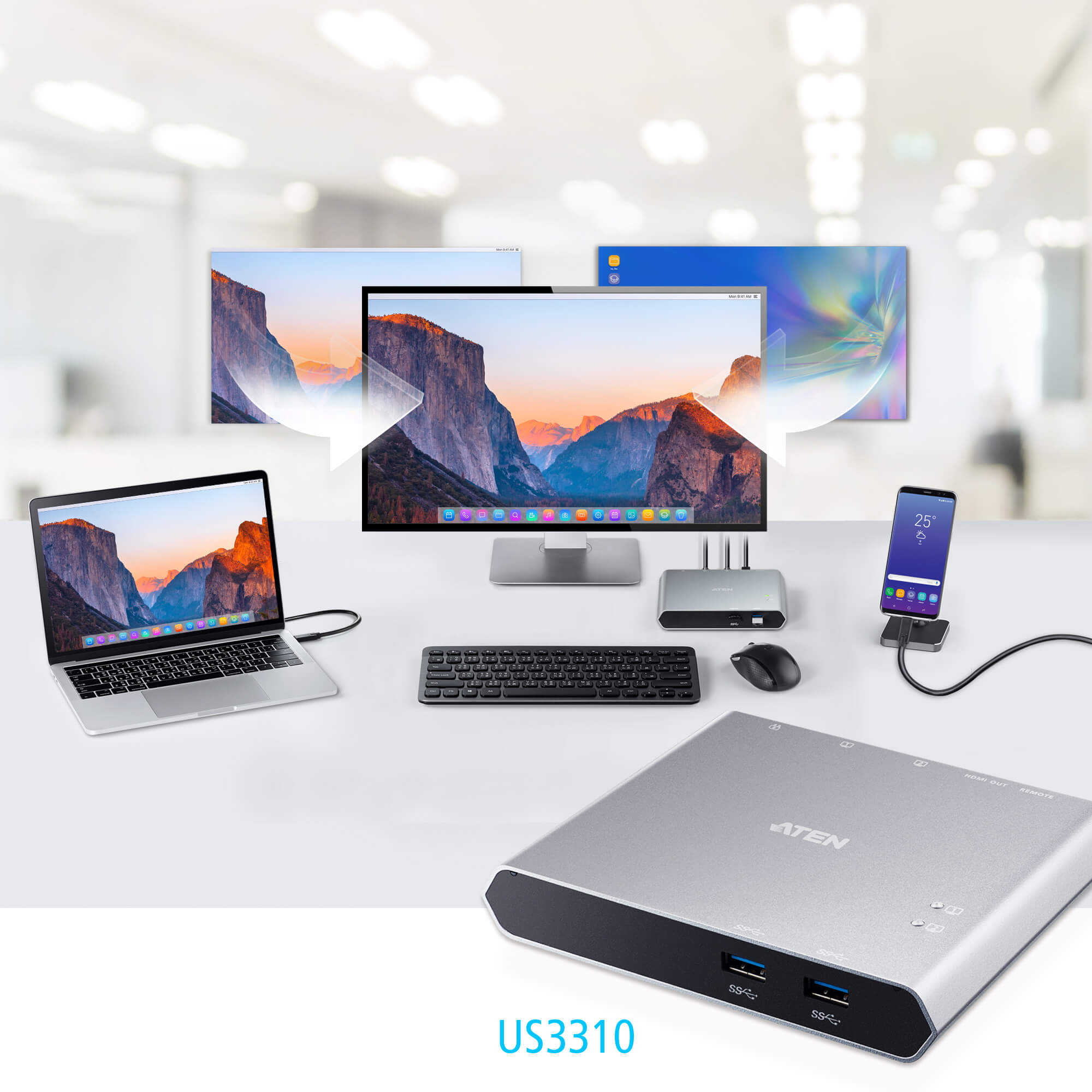 2-Port USB-C Gen 1 KVMP™ Switch (Dock) with Power Pass-through-4