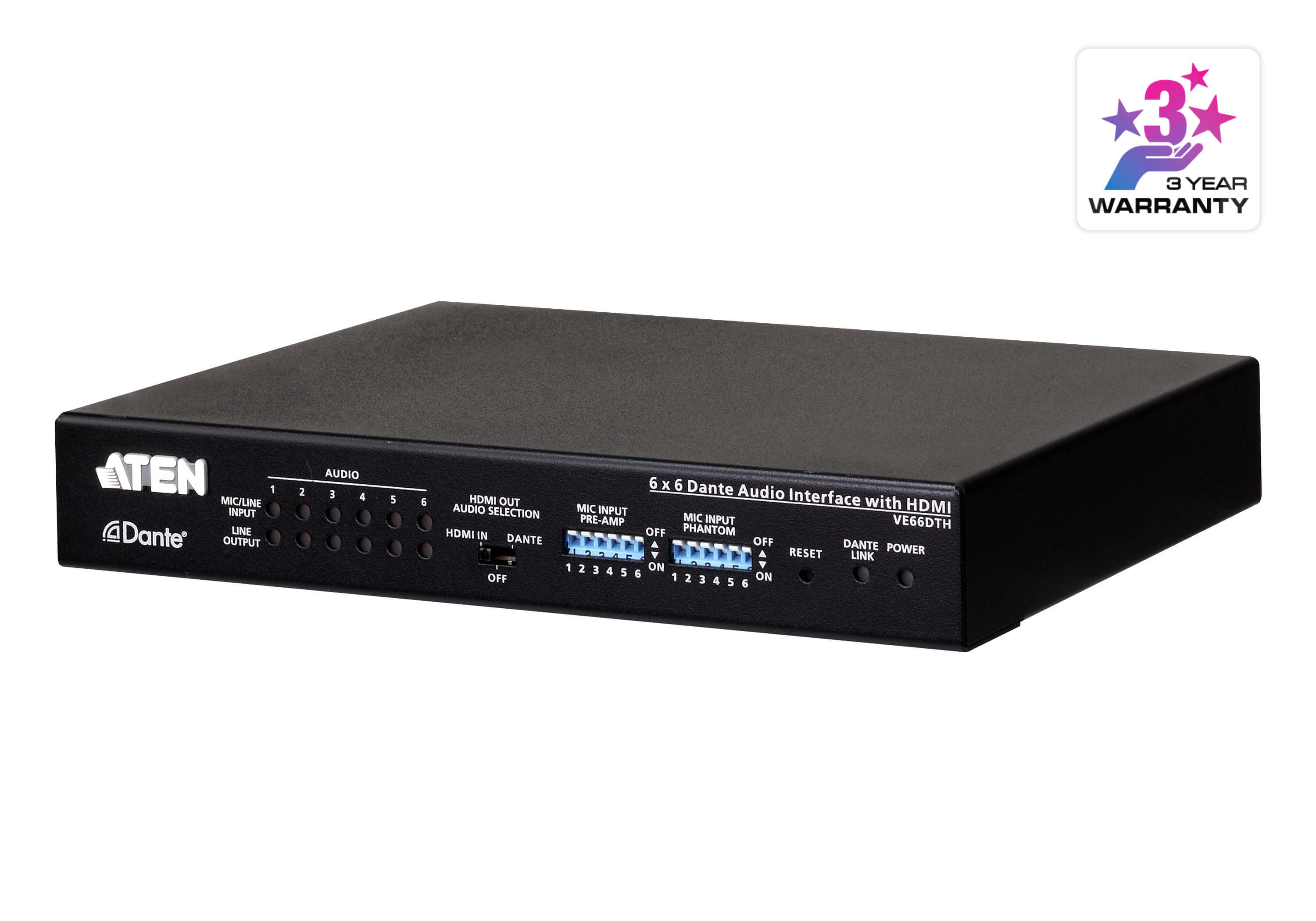 Interface audio Dante 6 x 6 avec HDMI