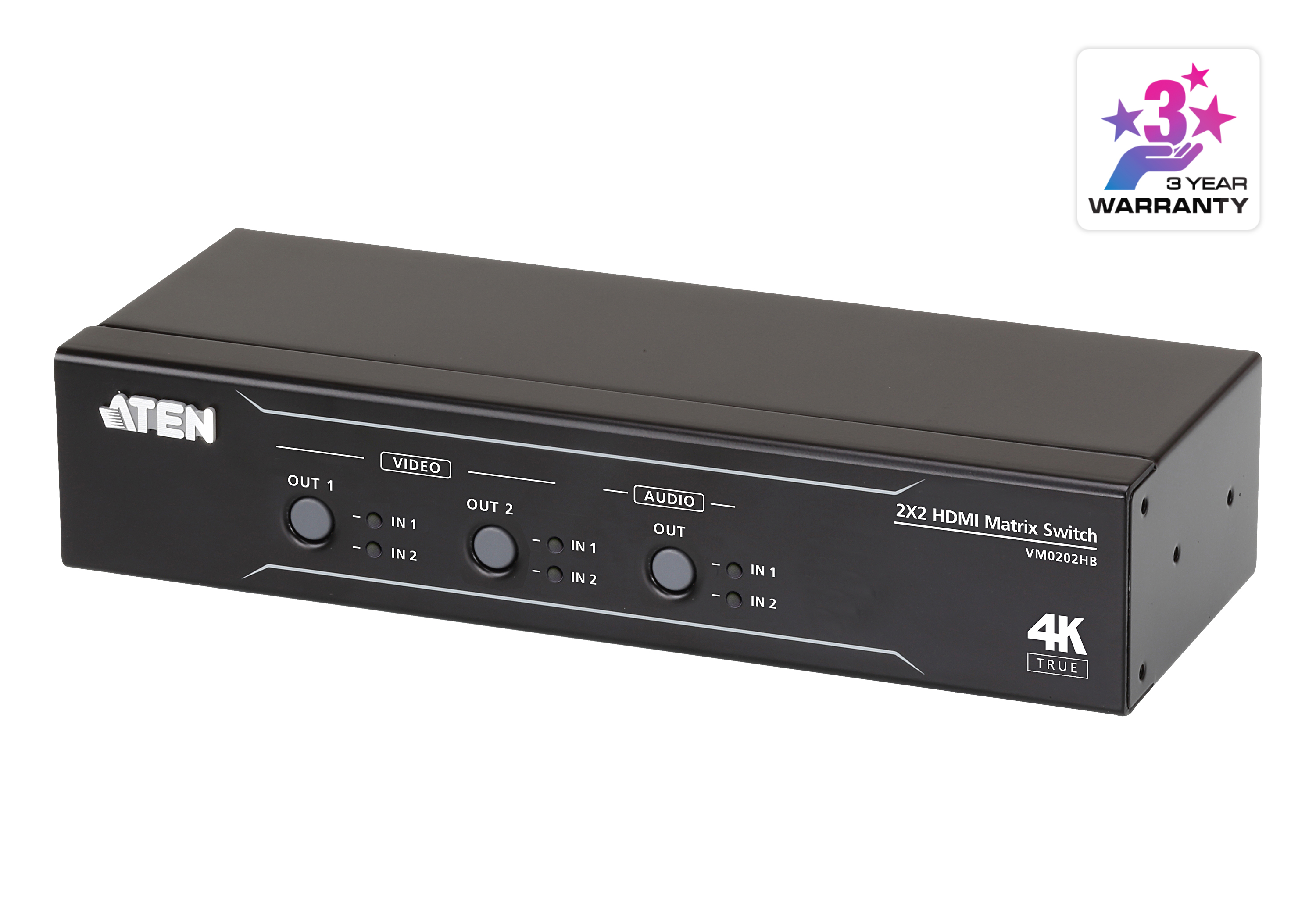 2 x 2 True 4K HDMI Matrix Switch with Audio De-Embedder-2