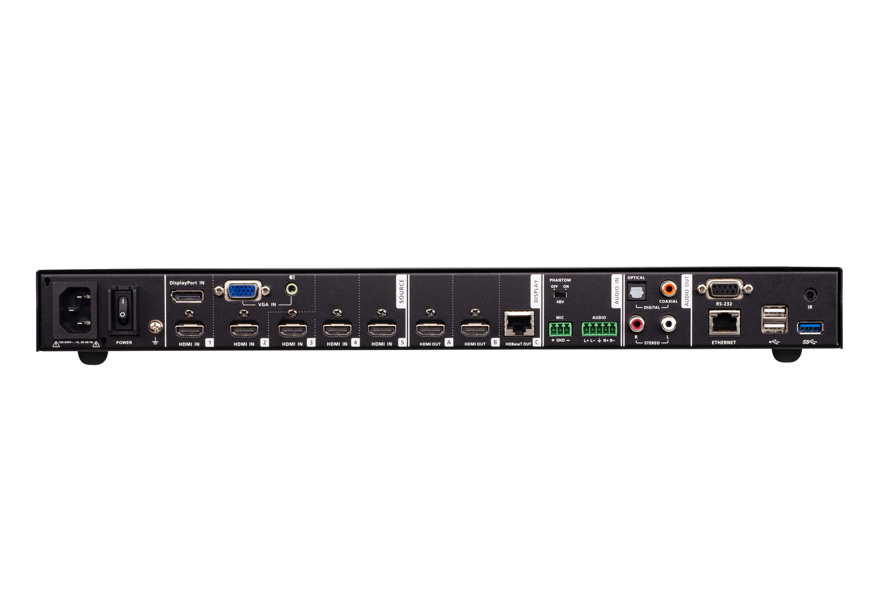 7 x 3 Seamless Presentation Matrix Switch with Scaler, Streaming, Audio Mixer, and HDBaseT-2